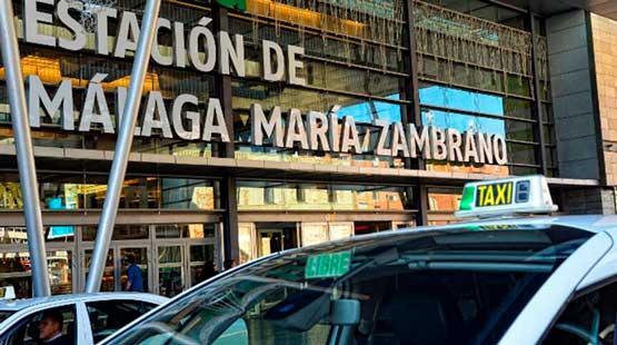 A la estación de tren de Málaga RENFE desde Nerja en Taxi